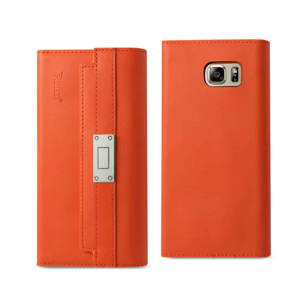 SAMSUNG GALAXY NOTE 5 GENUINE LEATHER RFID WALLET CASE AND METAL BUCKLE BELT IN TANGERINE