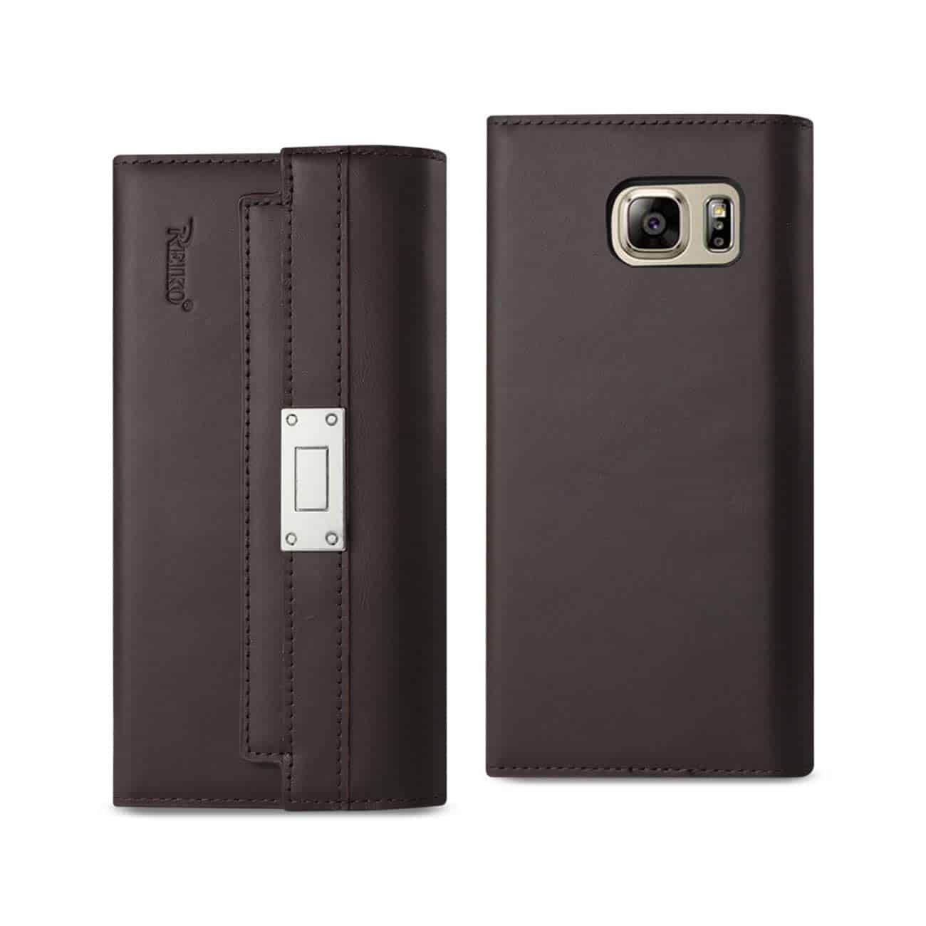 SAMSUNG GALAXY NOTE 5 GENUINE LEATHER RFID WALLET CASE AND METAL BUCKLE BELT IN UMBER