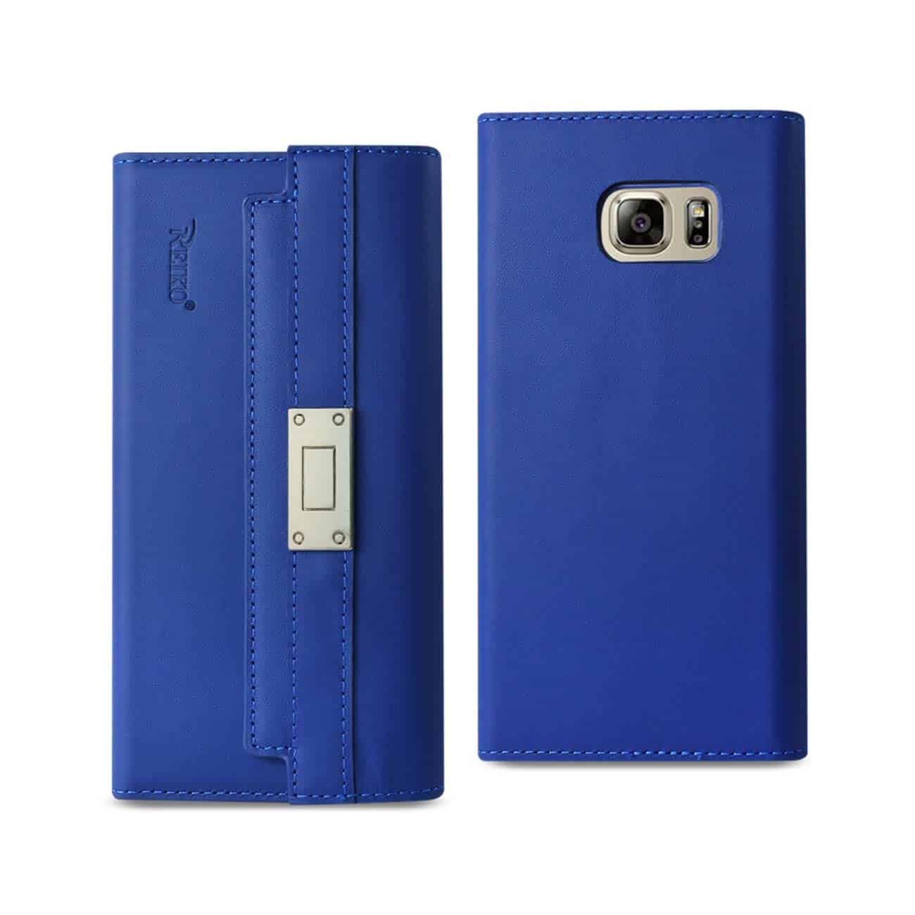 SAMSUNG GALAXY NOTE 5 GENUINE LEATHER RFID WALLET CASE AND METAL BUCKLE BELT IN ULTRAMARINE