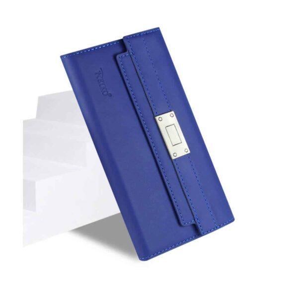 SAMSUNG GALAXY NOTE 5 GENUINE LEATHER RFID WALLET CASE AND METAL BUCKLE BELT IN ULTRAMARINE