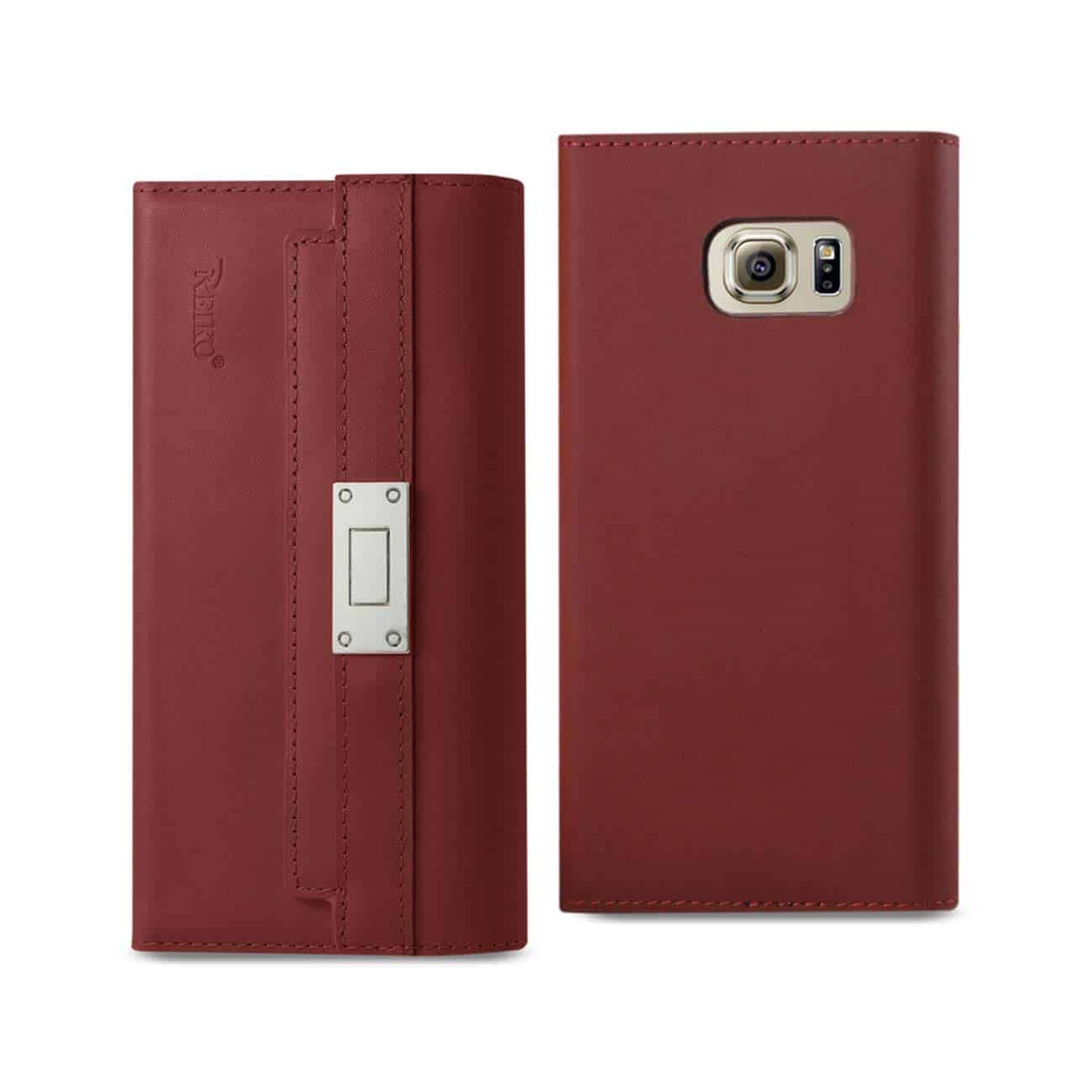 SAMSUNG GALAXY S6 GENUINE LEATHER RFID WALLET CASE AND METAL BUCKLE BELT IN BURGUNDY