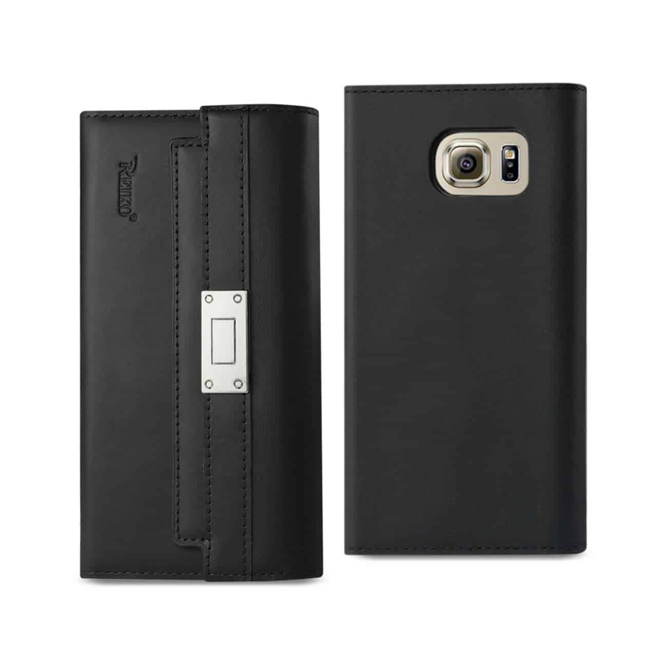 SAMSUNG GALAXY S6 GENUINE LEATHER RFID WALLET CASE AND METAL BUCKLE BELT IN BLACK