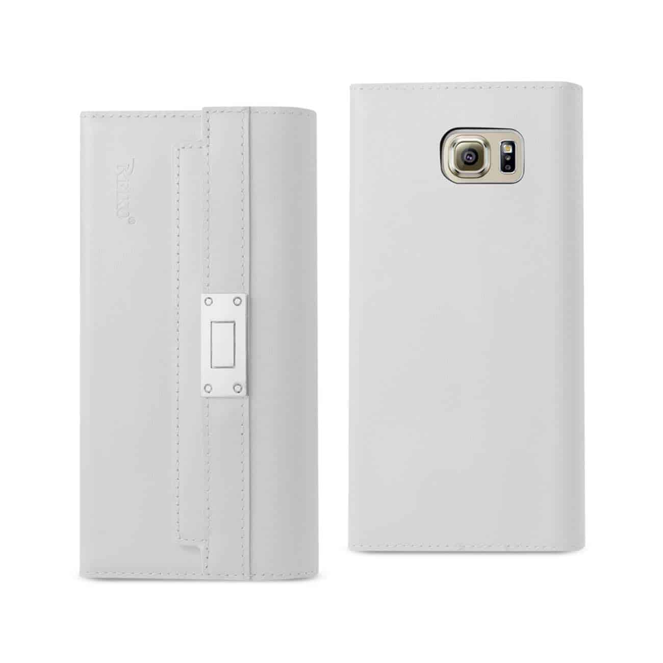 SAMSUNG GALAXY S6 GENUINE LEATHER RFID WALLET CASE AND METAL BUCKLE BELT IN IVORY