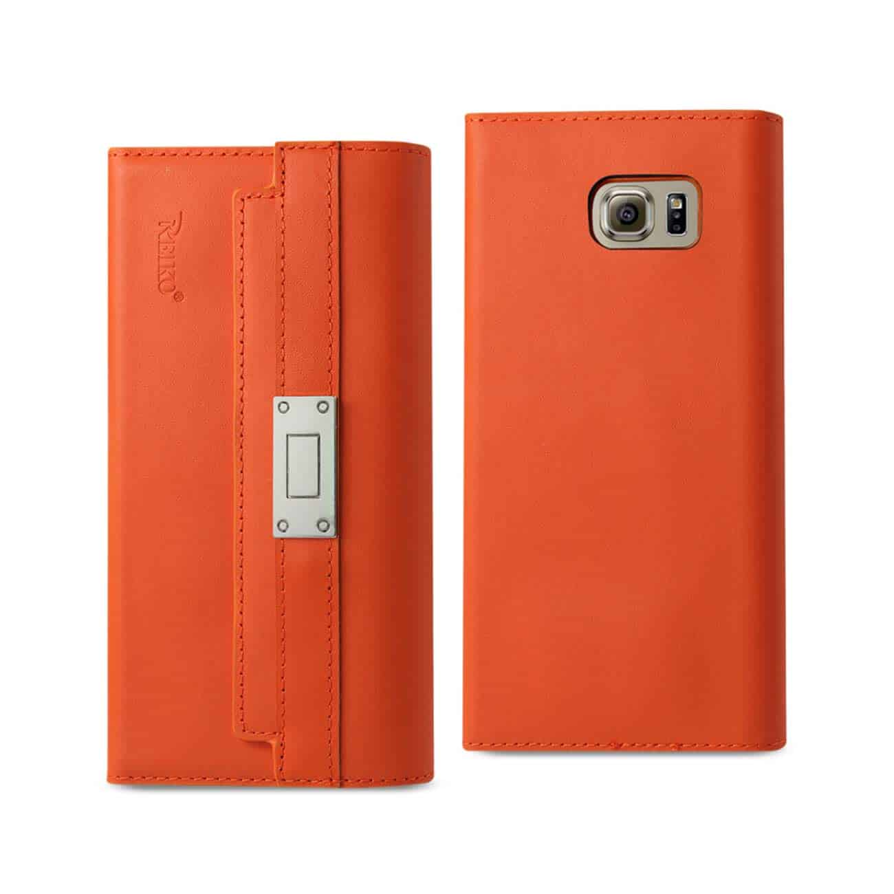 SAMSUNG GALAXY S6 GENUINE LEATHER RFID WALLET CASE AND METAL BUCKLE BELT IN TANGERINE