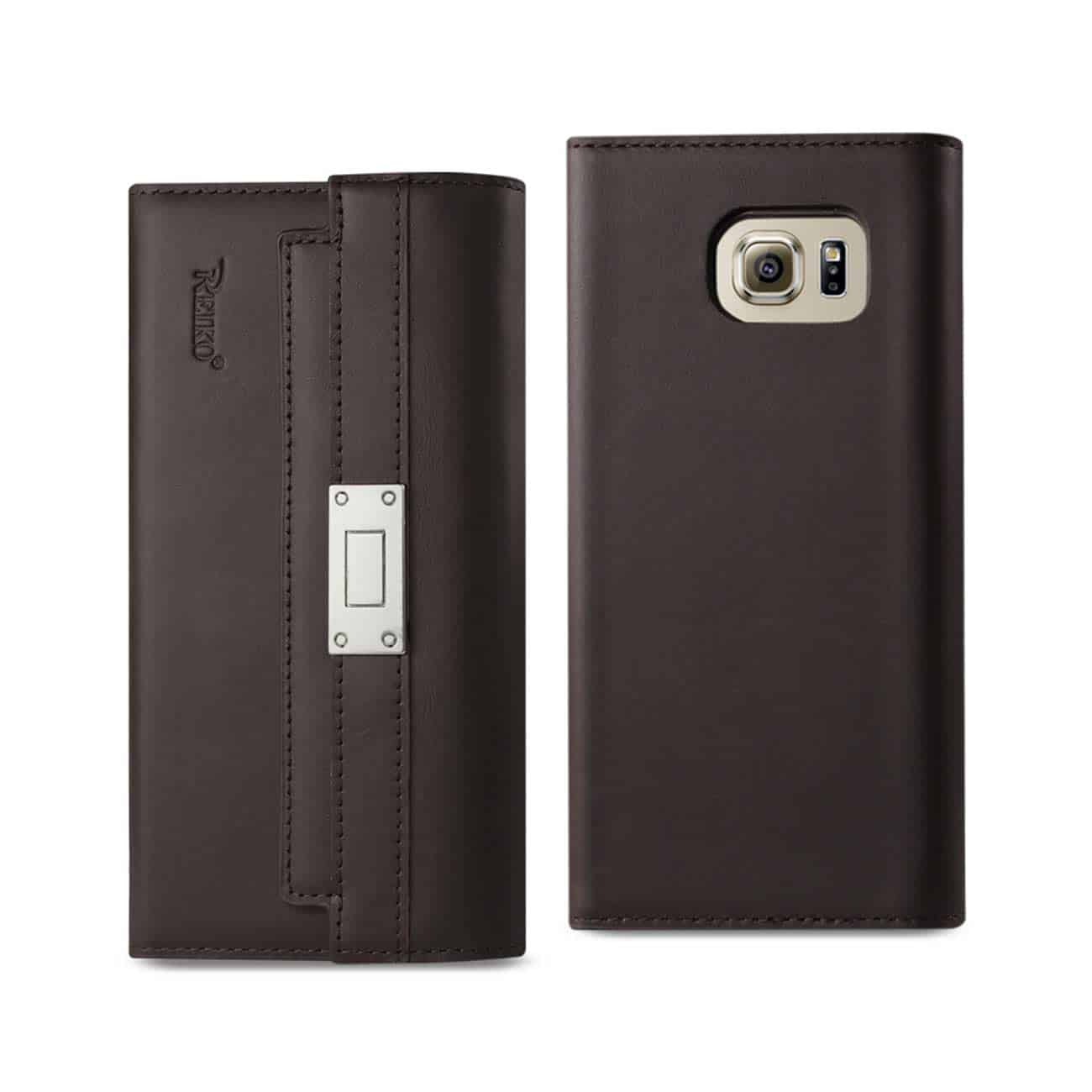 SAMSUNG GALAXY S6 GENUINE LEATHER RFID WALLET CASE AND METAL BUCKLE BELT IN UMBER