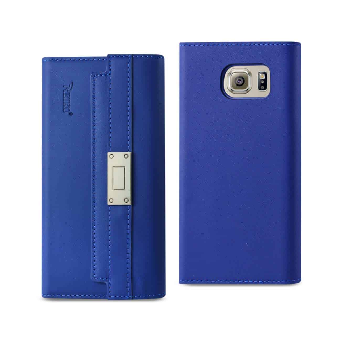SAMSUNG GALAXY S6 GENUINE LEATHER RFID WALLET CASE AND METAL BUCKLE BELT IN ULTRAMARINE