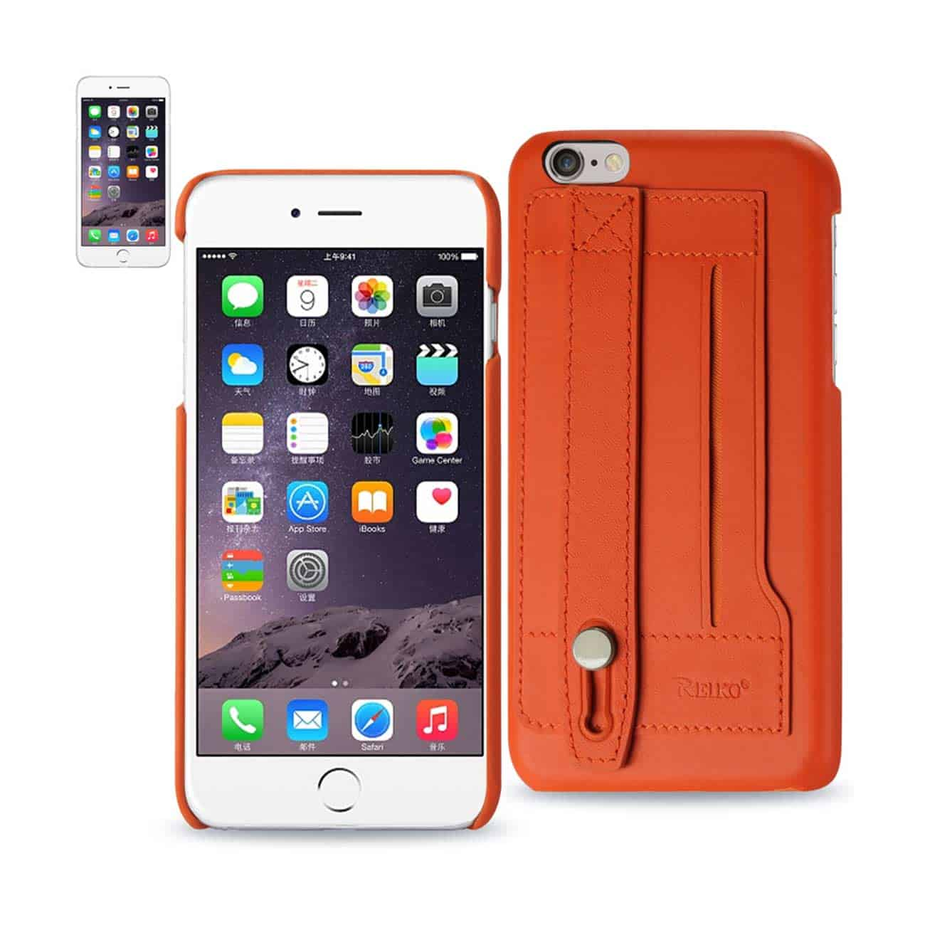 IPHONE 6 PLUS GENUINE LEATHER HAND STRAP CASE IN TANGERINE