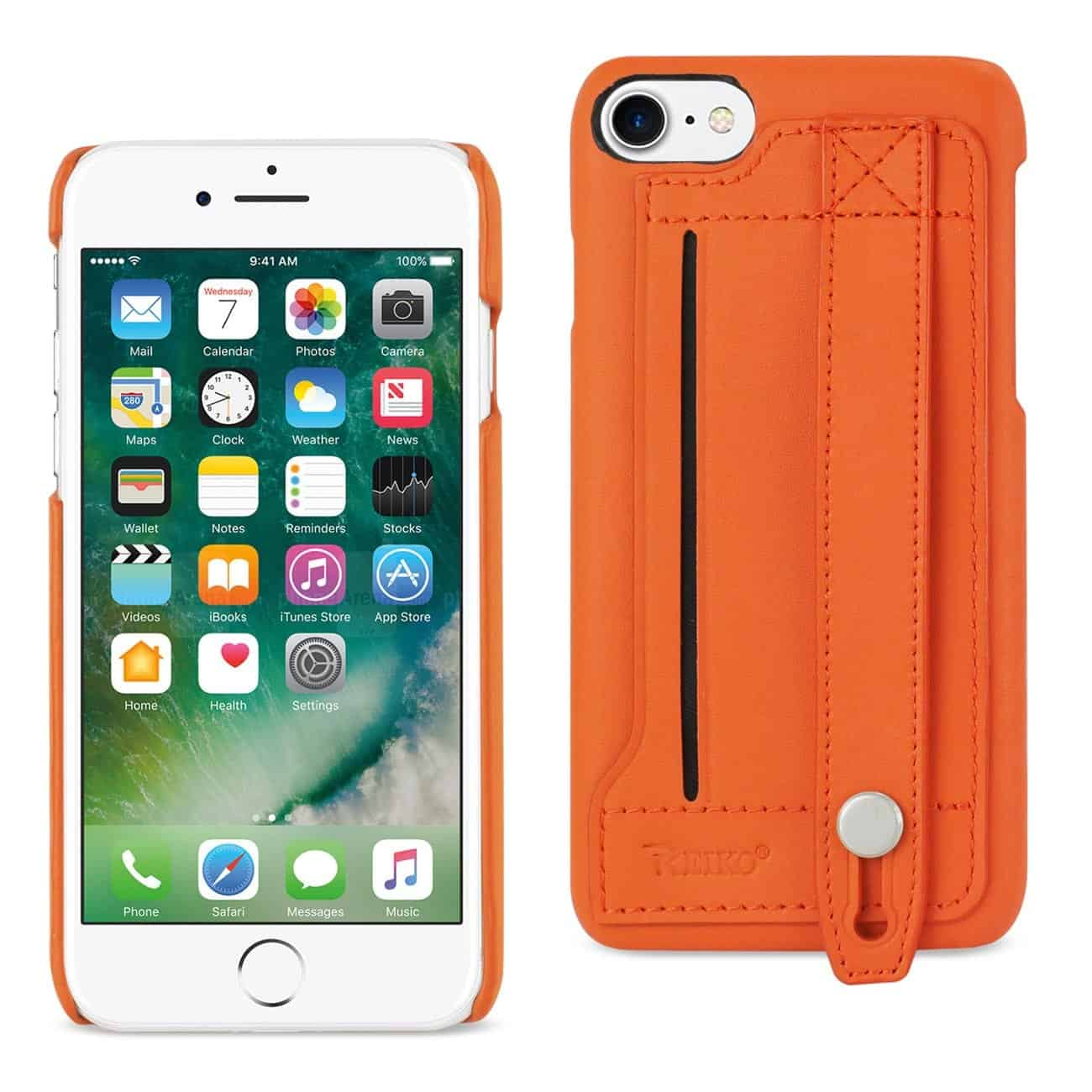 IPHONE 7 GENUINE LEATHER HAND STRAP CASE IN TANGERINE