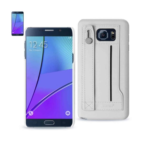 SAMSUNG GALAXY NOTE 5 GENUINE LEATHER HAND STRAP CASE IN IVORY