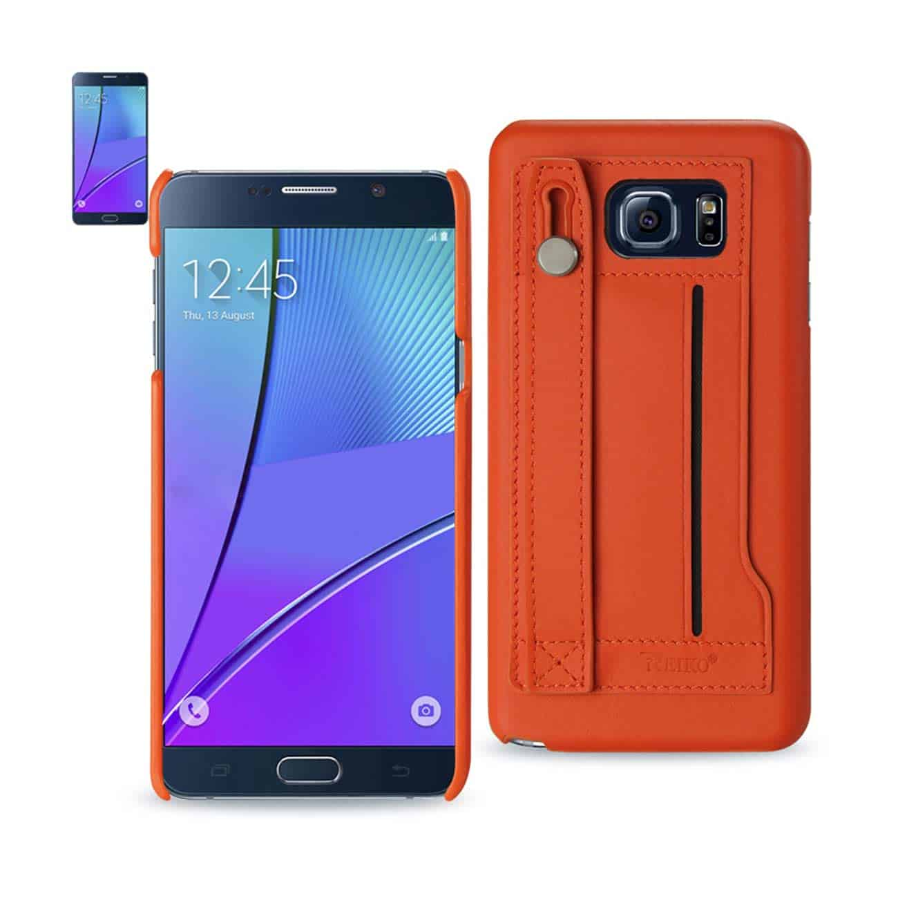 SAMSUNG GALAXY NOTE 5 GENUINE LEATHER HAND STRAP CASE IN TANGERINE