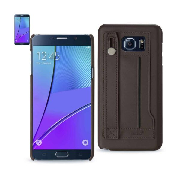 SAMSUNG GALAXY NOTE 5 GENUINE LEATHER HAND STRAP CASE IN UMBER