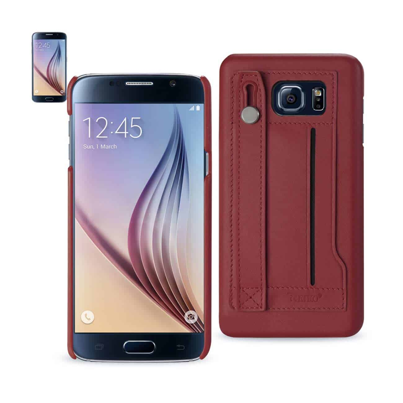 SAMSUNG GALAXY S6 GENUINE LEATHER HAND STRAP CASE IN BURGUNDY