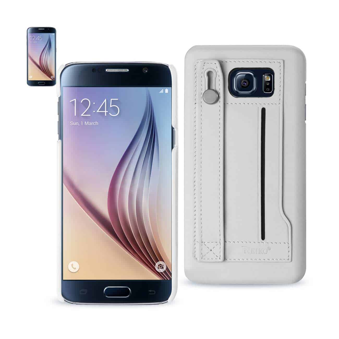 SAMSUNG GALAXY S6 GENUINE LEATHER HAND STRAP CASE IN IVORY