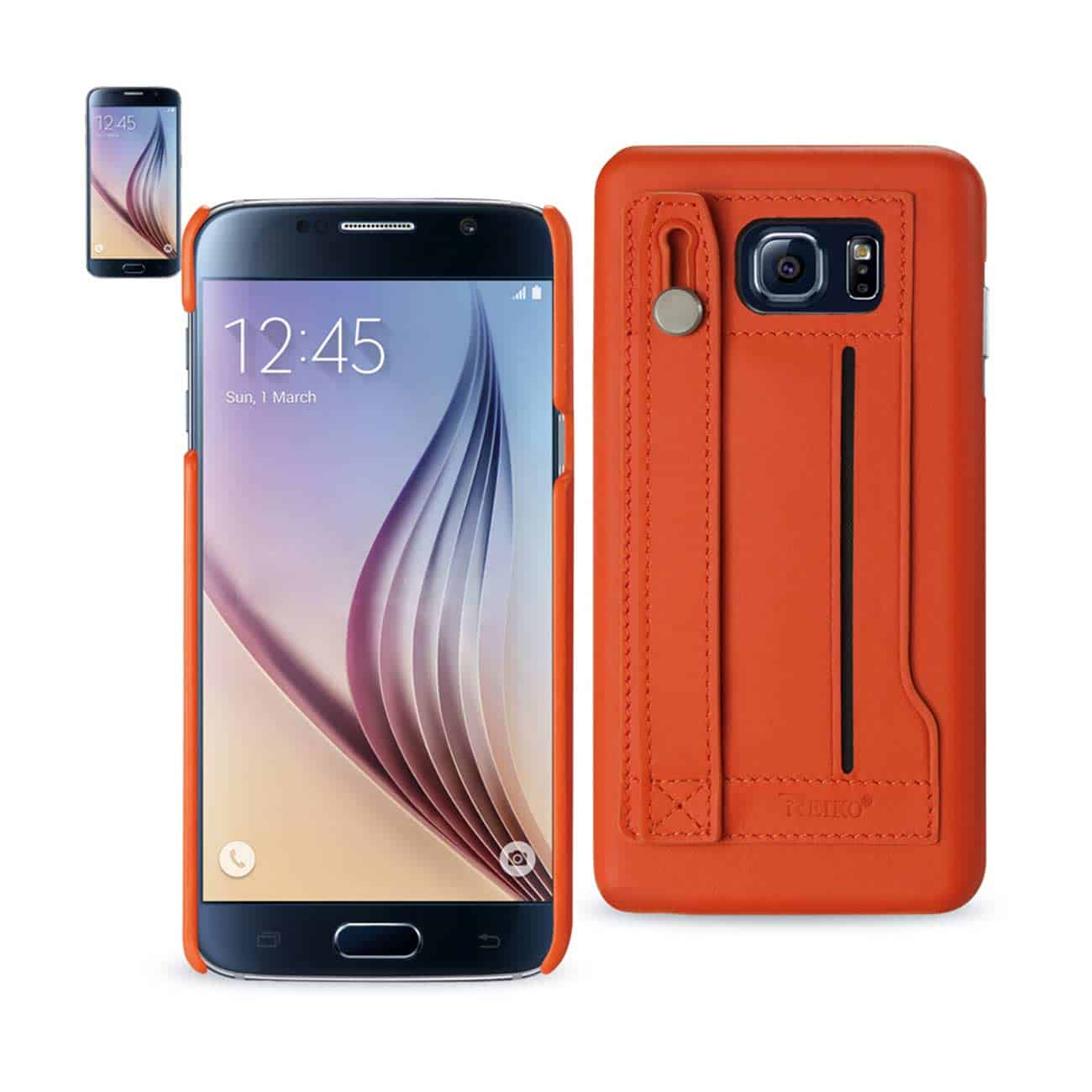 SAMSUNG GALAXY S6 GENUINE LEATHER HAND STRAP CASE IN TANGERINE