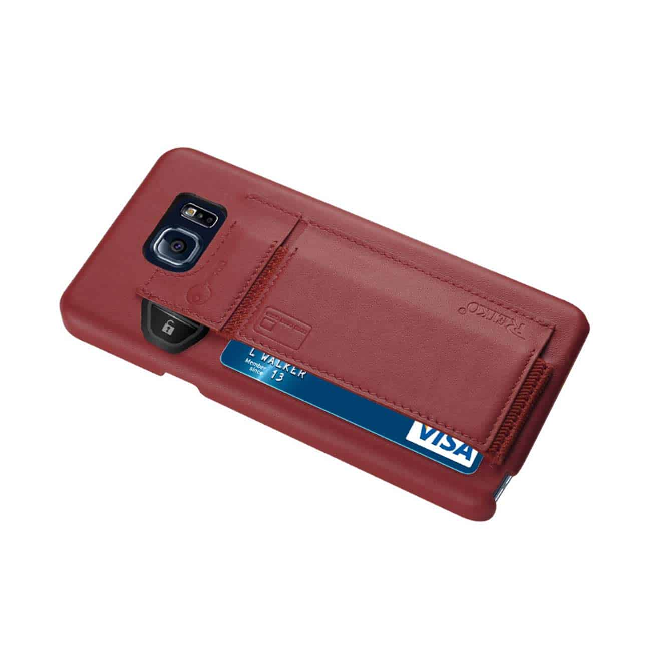 SAMSUNG GALAXY NOTE 5 RFID GENUINE LEATHER CASE PROTECTION AND KEY HOLDER IN BURGUNDY