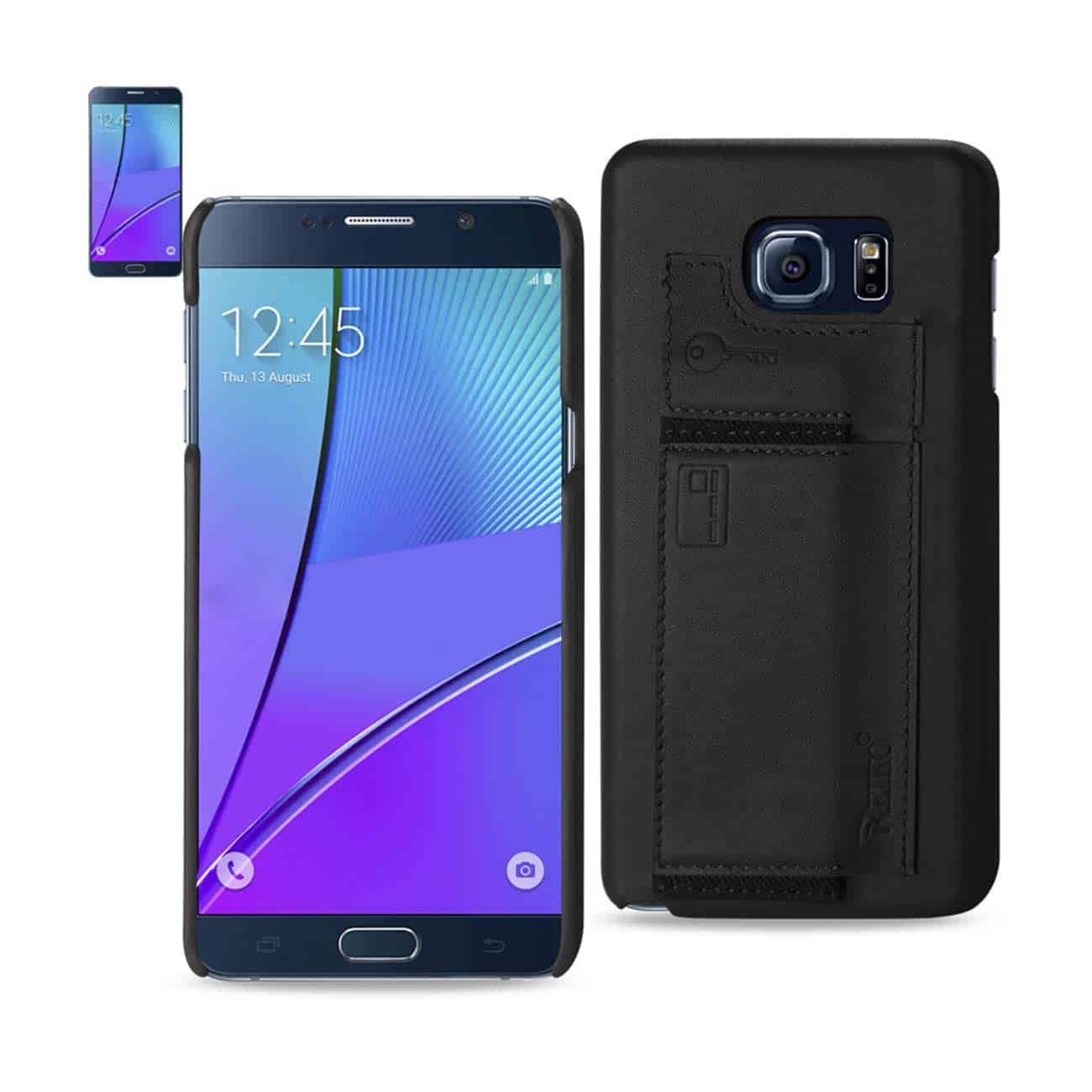 SAMSUNG GALAXY NOTE 5 RFID GENUINE LEATHER CASE PROTECTION AND KEY HOLDER IN BLACK