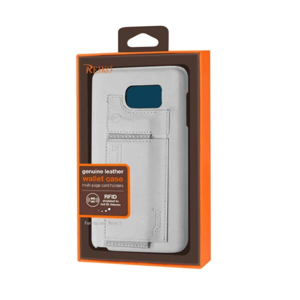 SAMSUNG GALAXY NOTE 5 RFID GENUINE LEATHER CASE PROTECTION AND KEY HOLDER IN IVORY