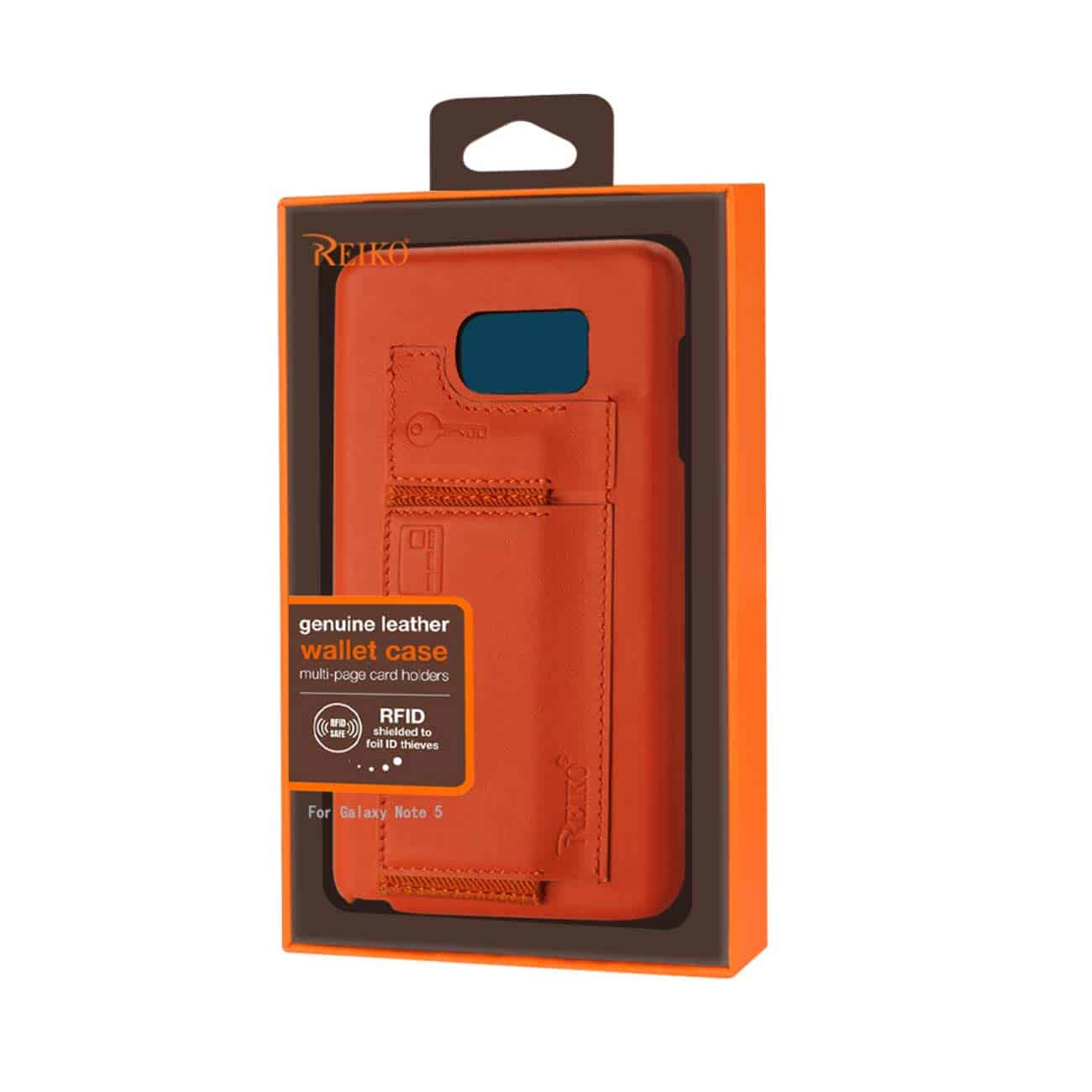 SAMSUNG GALAXY NOTE 5 RFID GENUINE LEATHER CASE PROTECTION AND KEY HOLDER IN TANGERINE