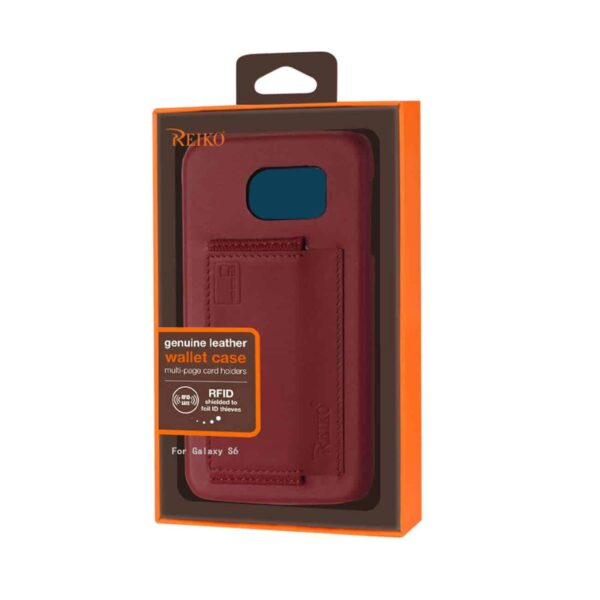 SAMSUNG GALAXY S6 RFID GENUINE LEATHER CASE PROTECTION AND KEY HOLDER IN BURGUNDY