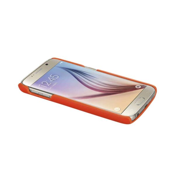 SAMSUNG GALAXY S6 RFID GENUINE LEATHER CASE PROTECTION AND KEY HOLDER IN TANGERINE