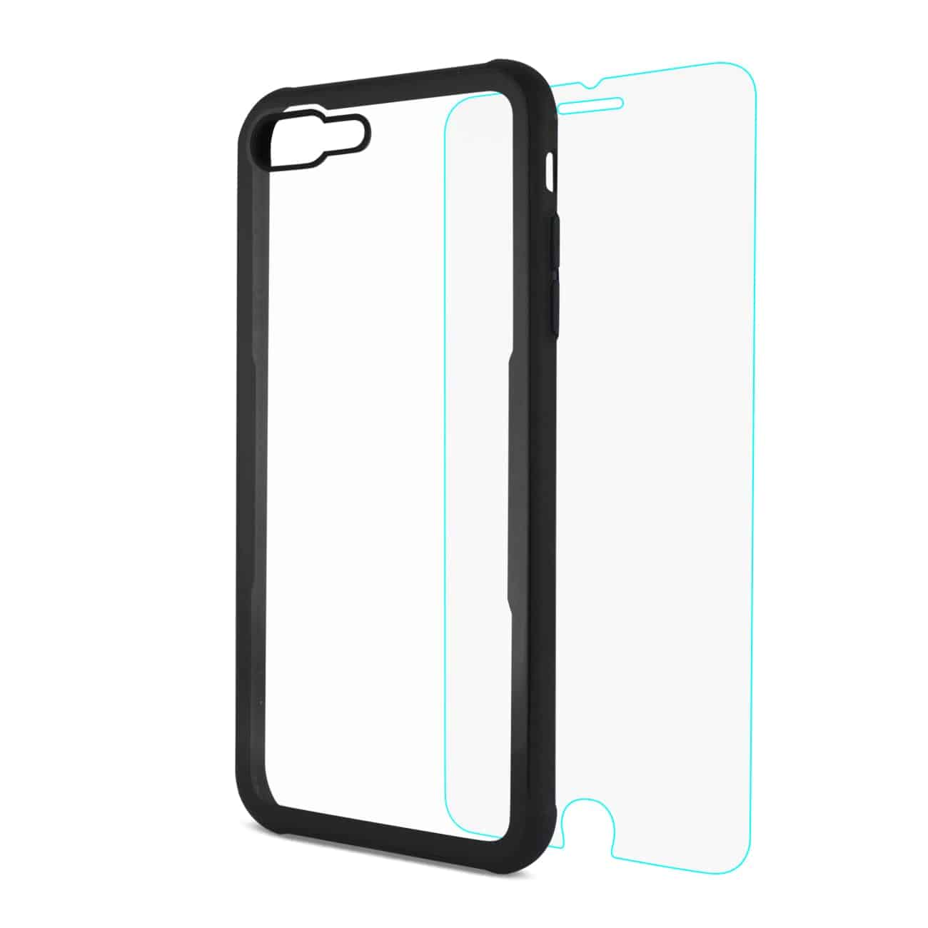 iPhone 8 Plus Hard Glass TPU Case With Tempered Glass Screen Protector In Clear Black