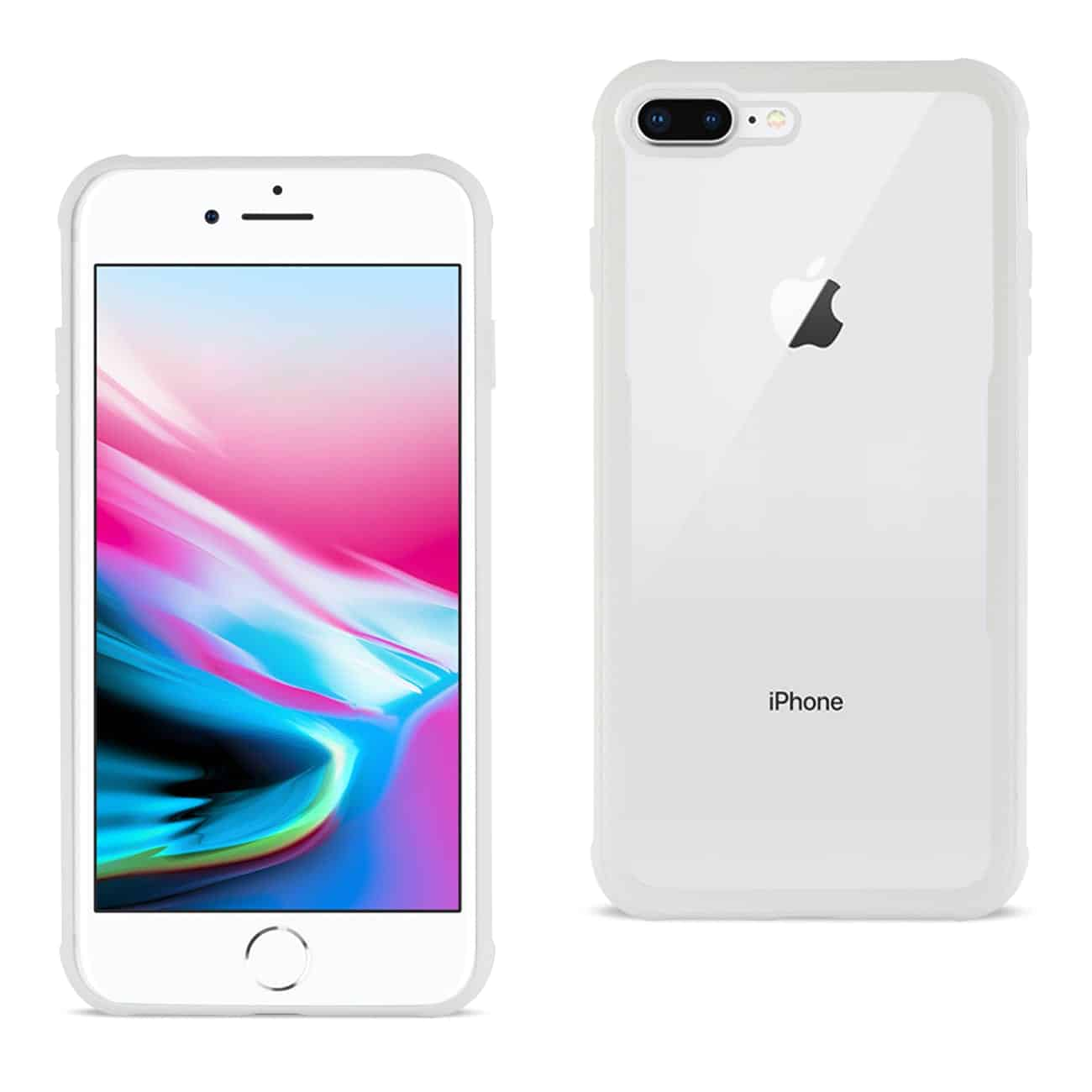 iPhone 8 Plus Hard Glass TPU Case With Tempered Glass Screen Protector In Clear White
