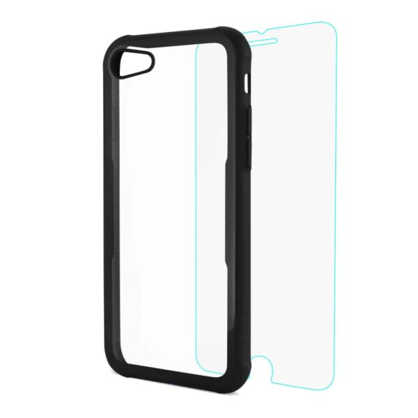 iPhone 8 Hard Glass TPU Case With Tempered Glass Screen Protector In Clear Black
