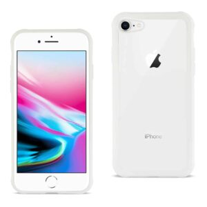 iPhone 8 Hard Glass TPU Case With Tempered Glass Screen Protector In Clear White
