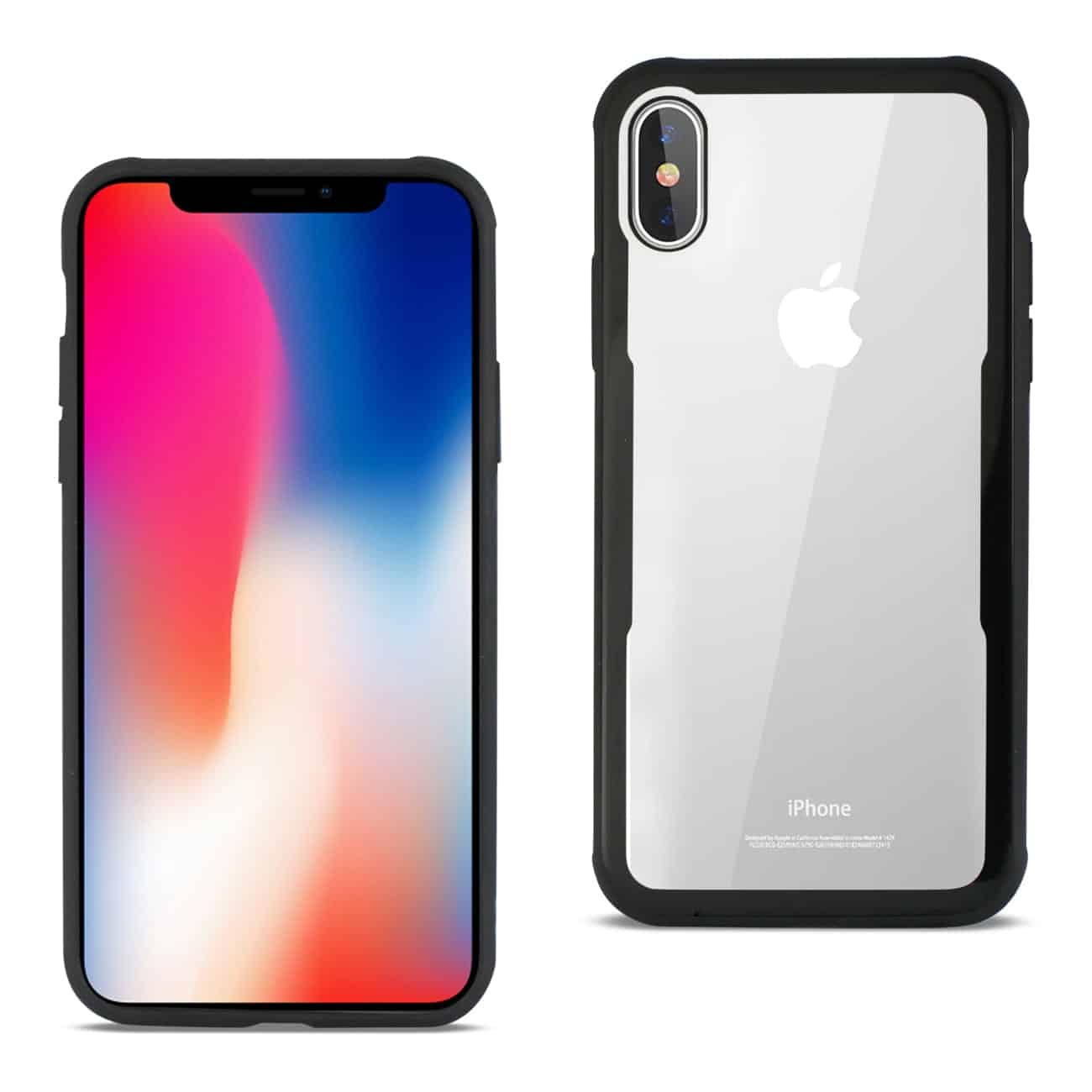 iPhone X Hard Glass TPU Case With Tempered Glass Screen Protector In Clear Black
