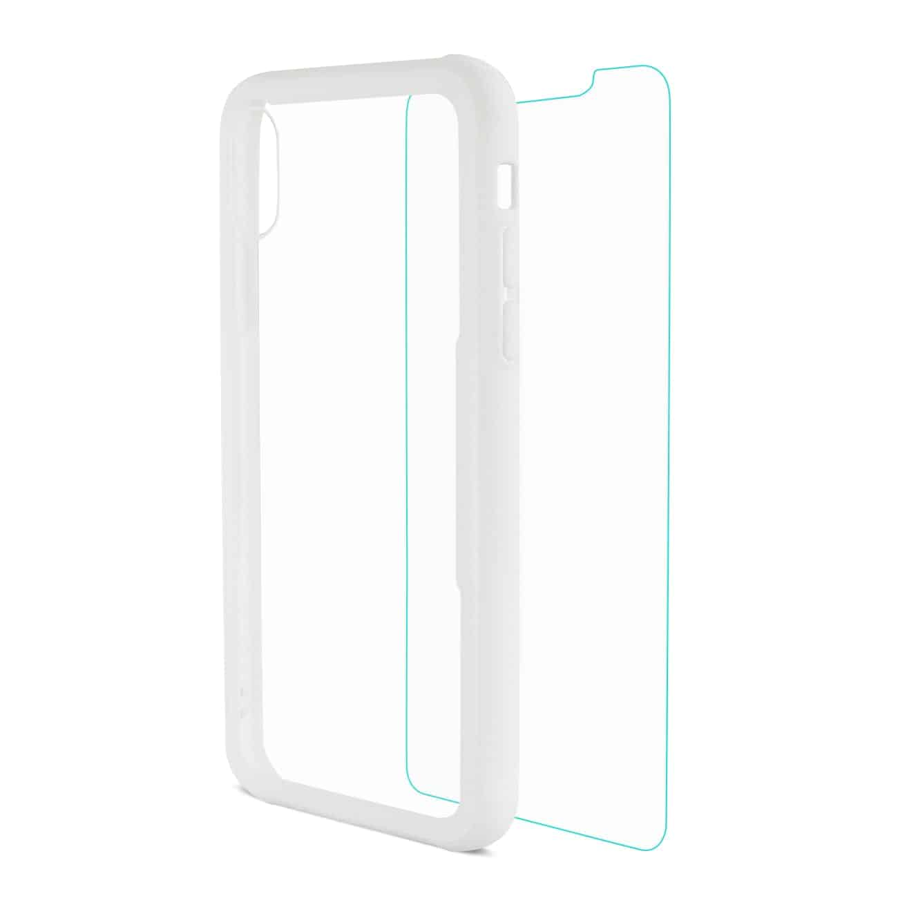 iPhone X Hard Glass TPU Case With Tempered Glass Screen Protector In Clear White