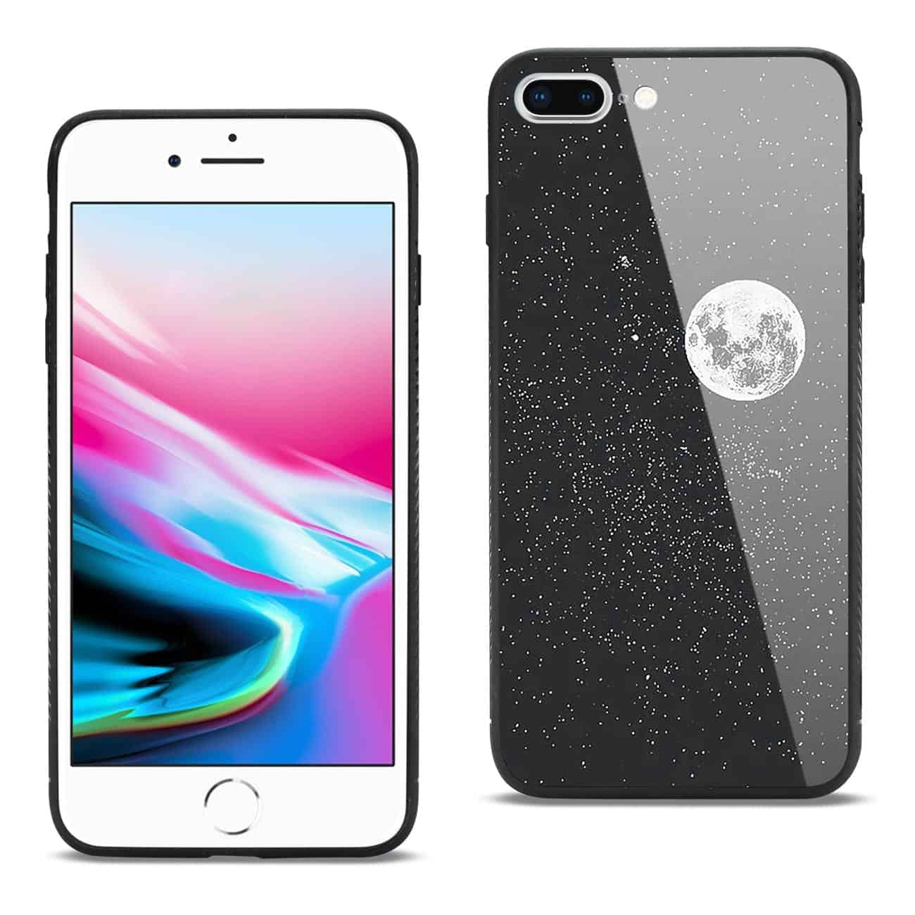 iPhone 8 Plus Hard Glass Design TPU Case With Universe Pattern