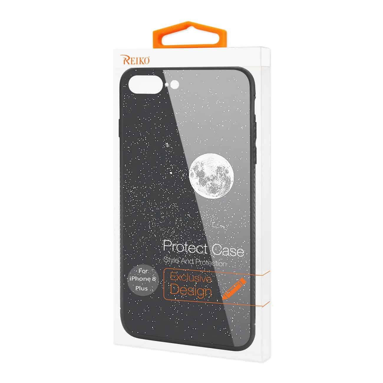 iPhone 8 Plus Hard Glass Design TPU Case With Universe Pattern