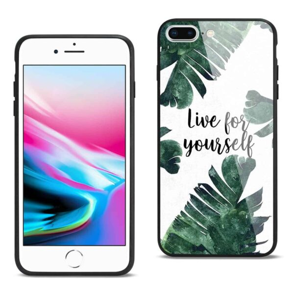 iPhone 8 Plus Hard Glass Design TPU Case With Leaves D