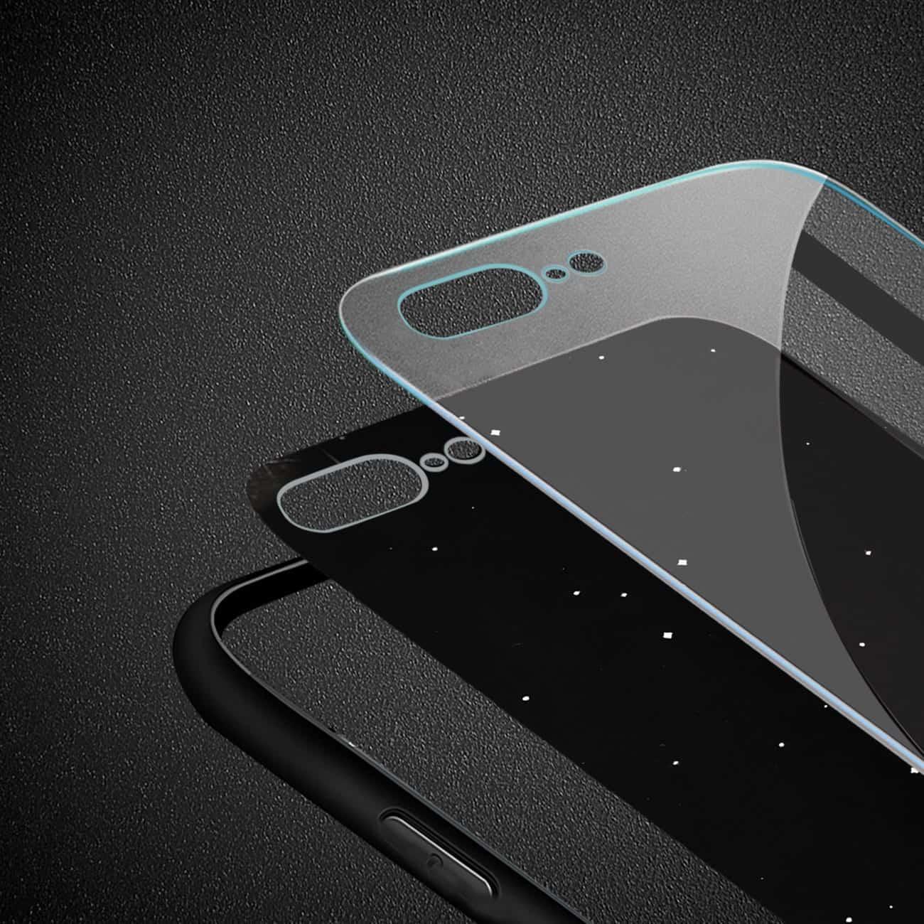 iPhone 8 Plus Hard Glass Design TPU Case With Night De