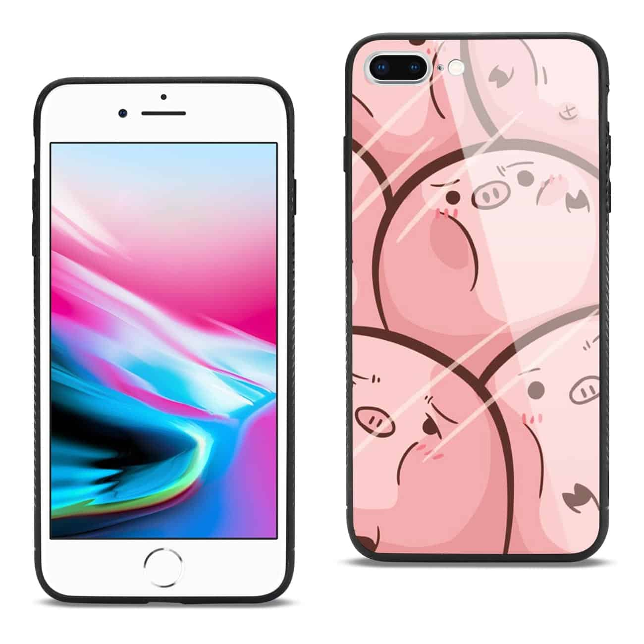 iPhone 8 Plus Hard Glass Design TPU Case With Pink Pig Faces