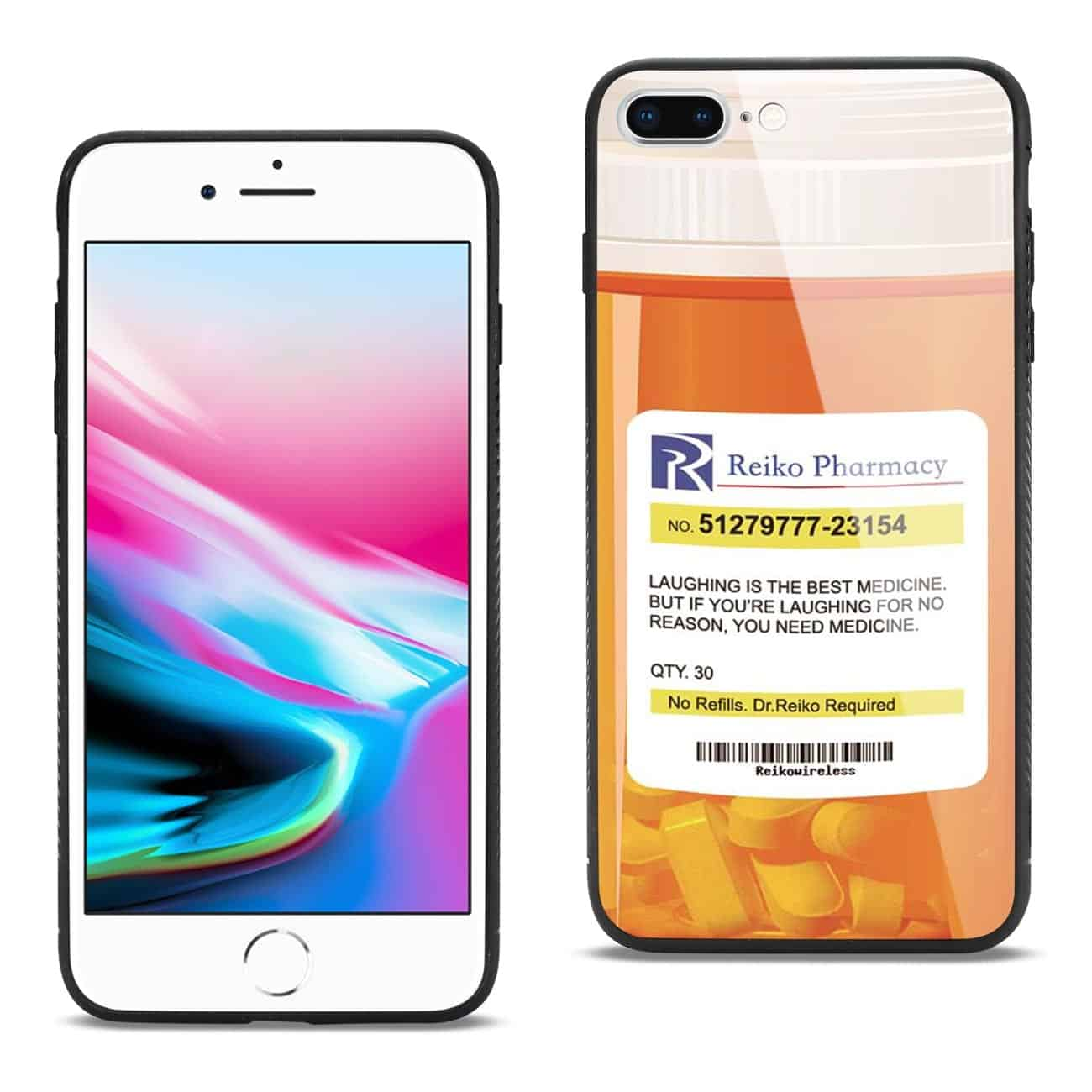 iPhone 8 Plus Hard Glass Design TPU Case With Pill Container