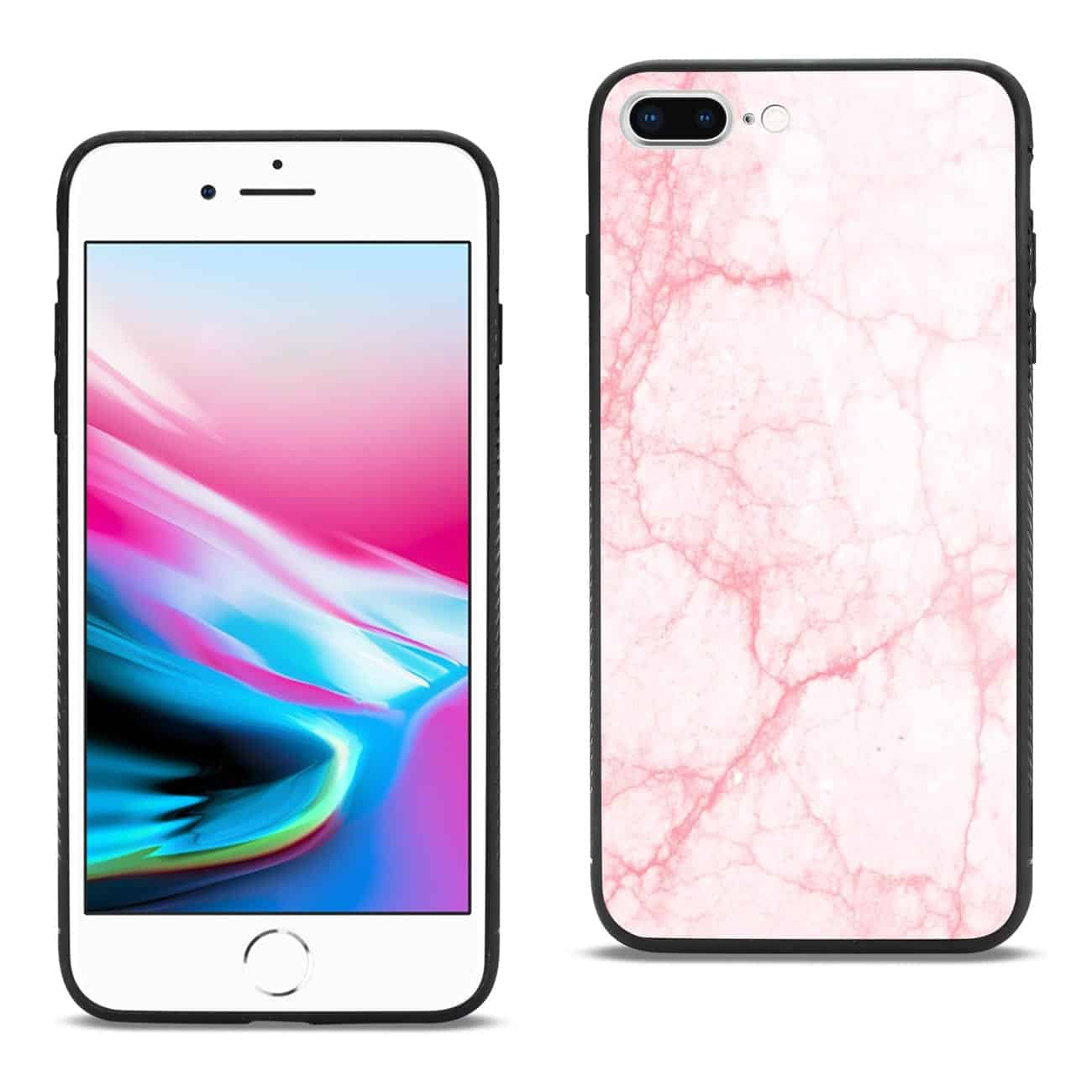 iPhone 8 Plus Hard Glass Design TPU Case With Pink Marble