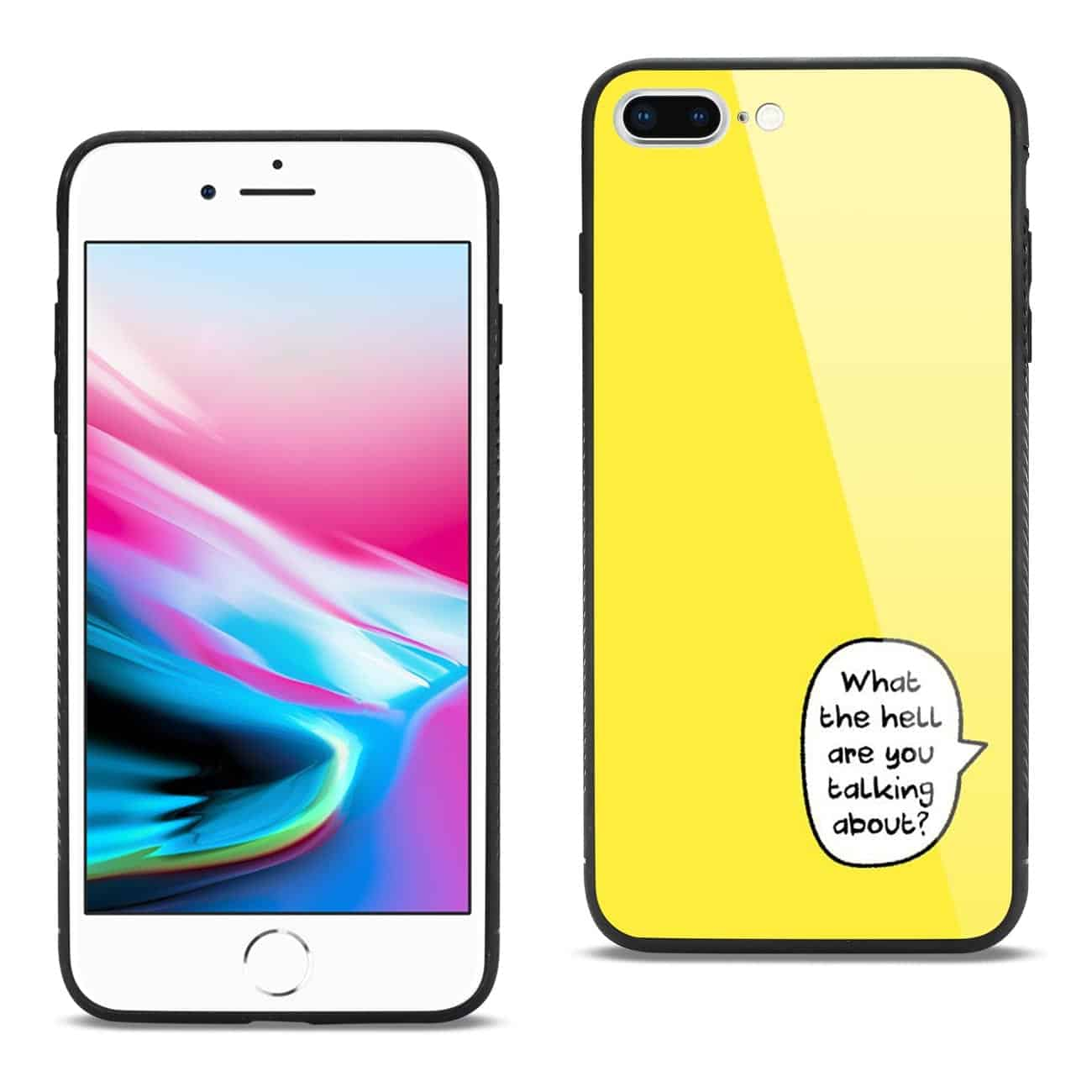iPhone 8 Plus Hard Glass Design TPU Case In Yellow