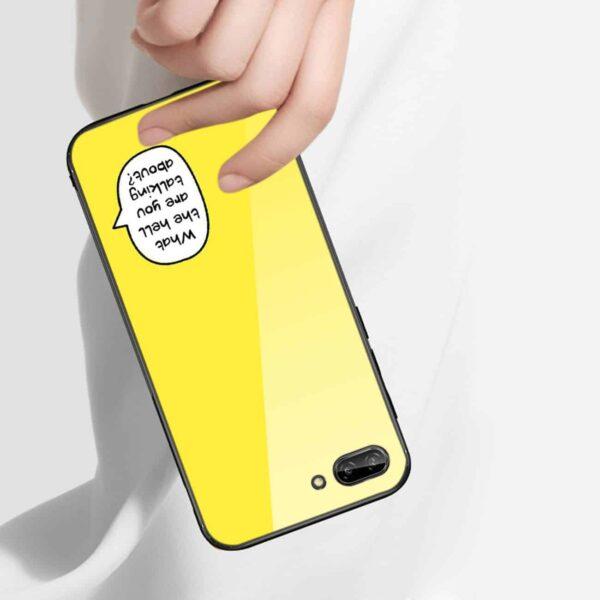 iPhone 8 Plus Hard Glass Design TPU Case In Yellow