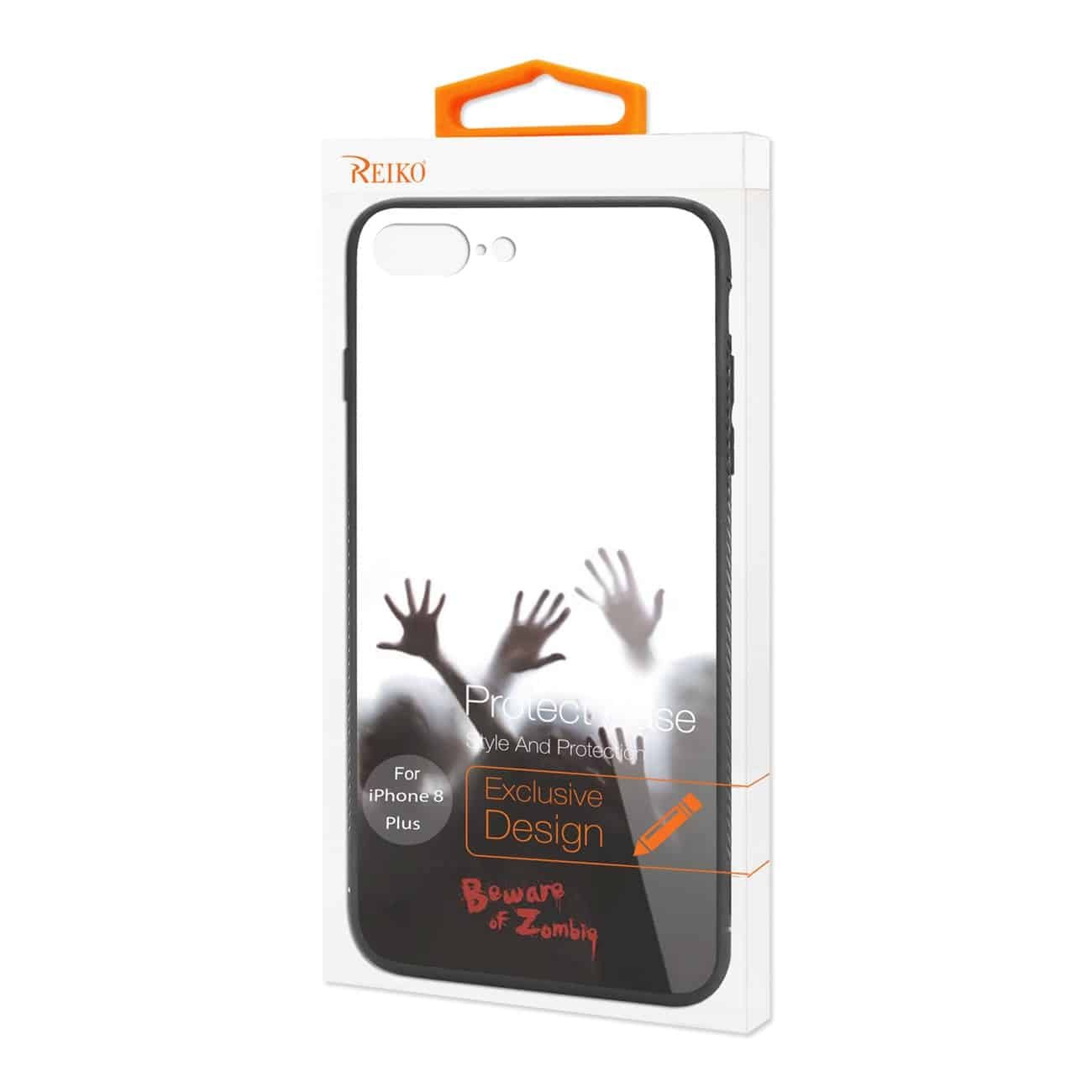 iPhone 8 Plus Hard Glass Design TPU Case With Zombies