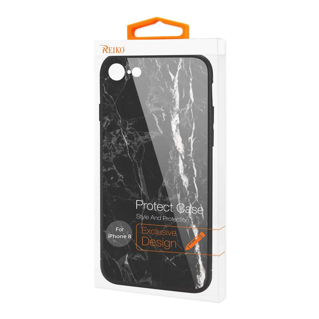 iPhone 8 Hard Glass Design TPU Case With Black Marble
