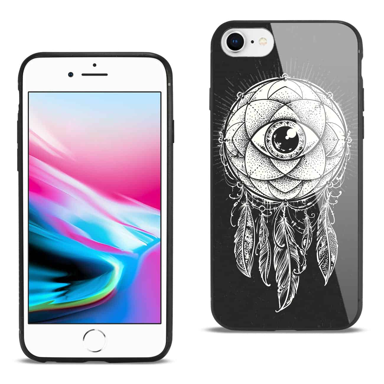 iPhone 8 Hard Glass Design TPU Case