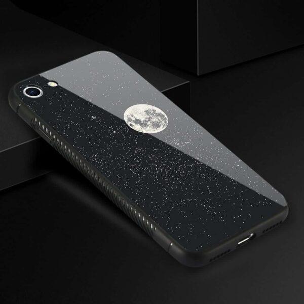iPhone 8 Hard Glass Design TPU Case With Universe Pattern