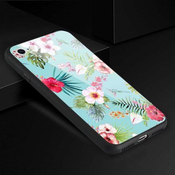 iPhone 8 Hard Glass Design TPU Case With Flower Design
