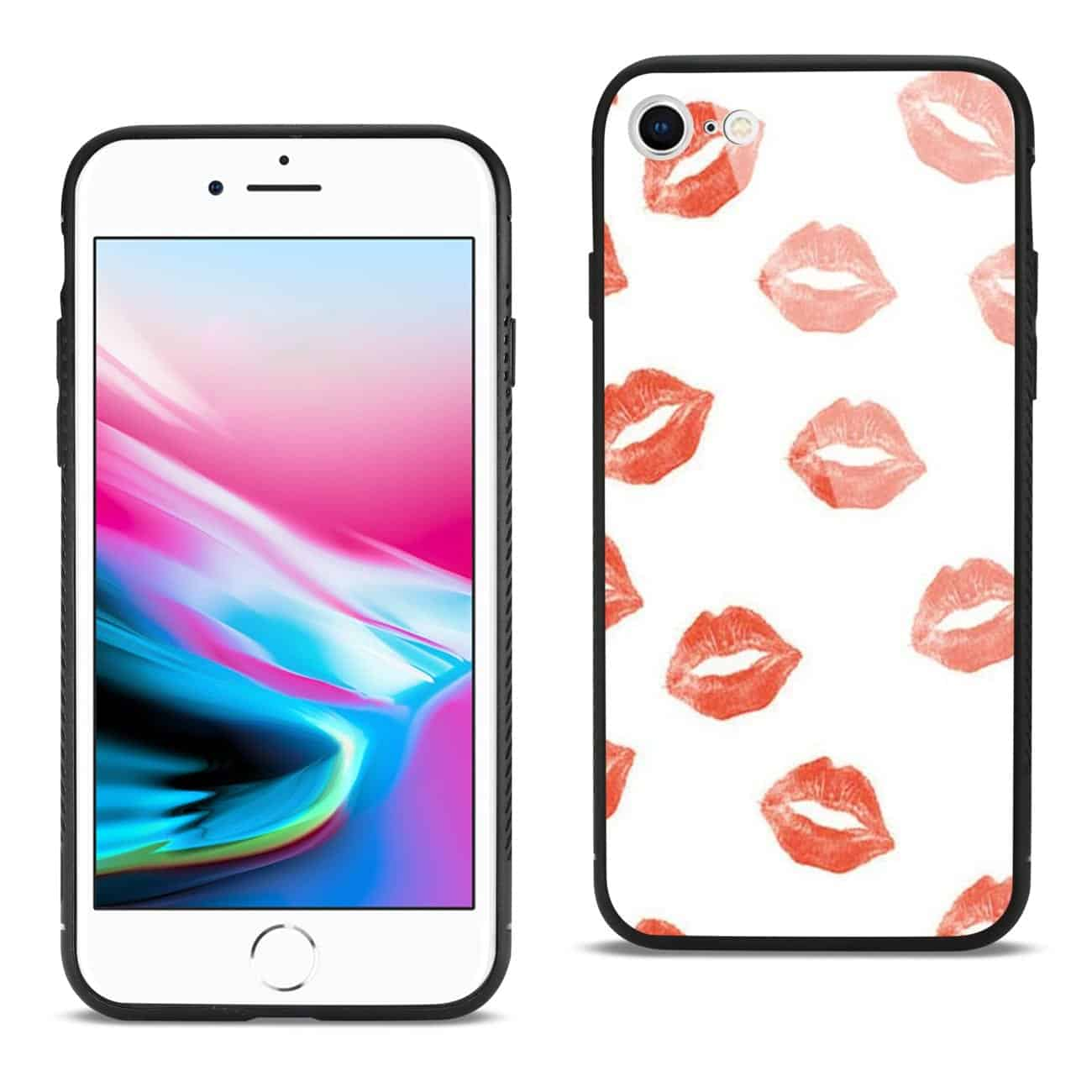 iPhone 8 Hard Glass Design TPU Case With Lipstick Kiss Pattern
