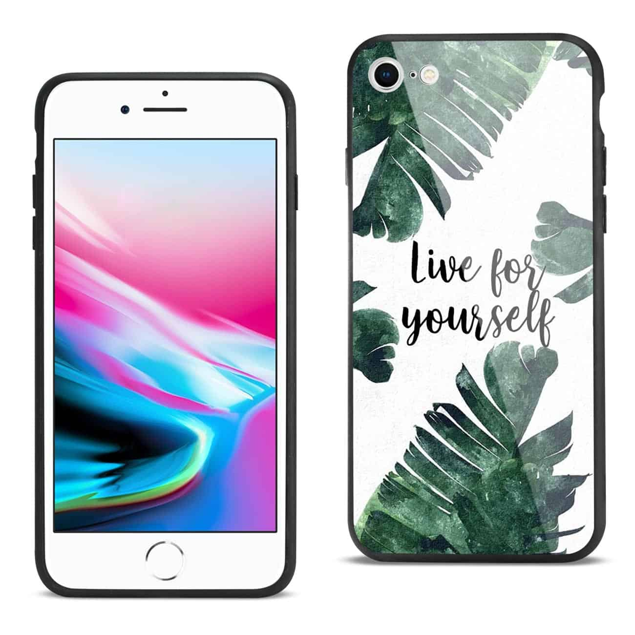 iPhone 8 Hard Glass Design TPU Case With Leaves Design