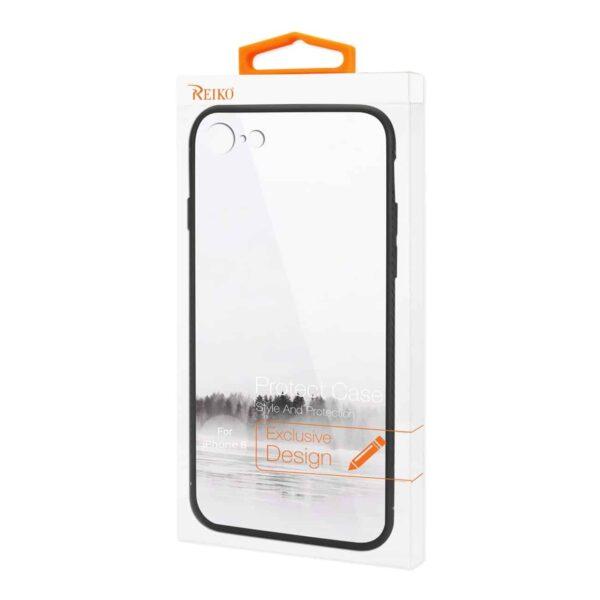 iPhone 8 Hard Glass Design TPU Case With Lake Scene