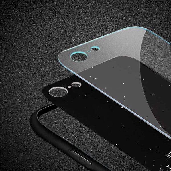 iPhone 8 Hard Glass Design TPU Case With Night Design