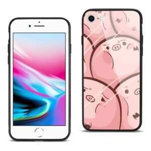 iPhone 8 Hard Glass Design TPU Case With Pink Pig Faces