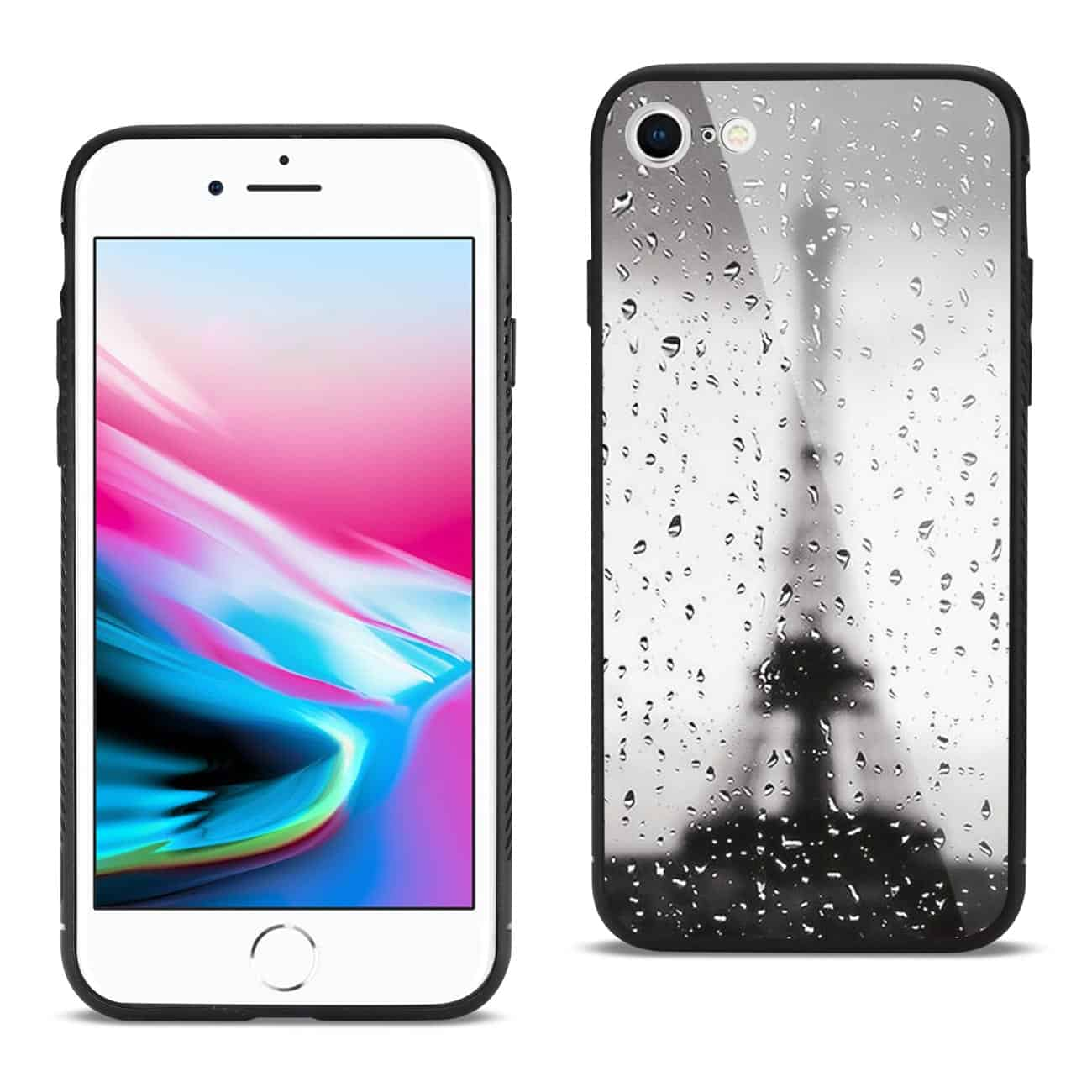 iPhone 8 Hard Glass Design TPU Case With Rainy Scene